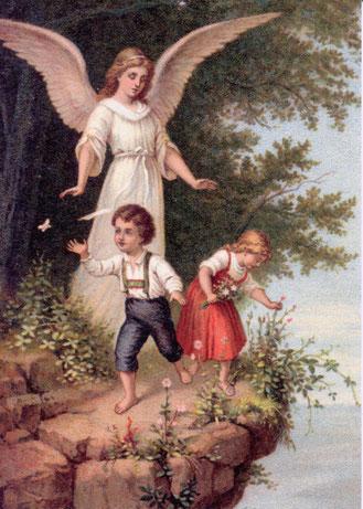 """Historische Ansichtskarte """"Der Heilige Schutzengel"""" um 1890  (Deutsches Schutzengel-Museum, Bretten)"""