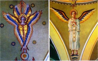 Zwei von insgesamt 24 Engeln der monumentalen Ausmalung von 1933 in den Kuppeln der St. Martinskirche in Flehingen
