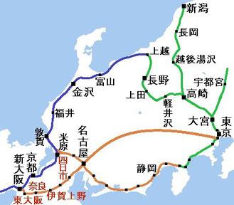 中央非リニア新幹線西区間を建設した場合のネットワーク
