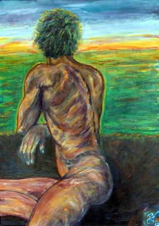 Sitzender nackter Mann in Rückenansicht wartet auf den Sonnenaufgang