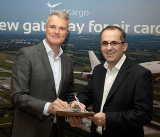 Rene Droese, BUD Airport Director Property & Cargo (left) and Sandor Barenyi, MD Schenker Kft Hungary  -  courtesy BUD