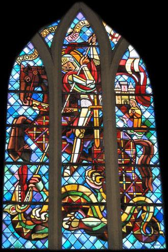 Vitrail de Saint Georges Eglise de Saint Georges Montcoq Manche
