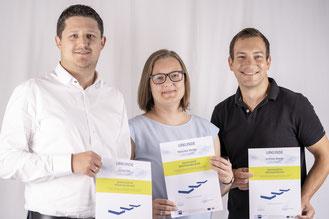 Foto: Die frisch zertifizierten Europoles-Ausbilder (v.l.): David Ettl, Manuela Wexler und Andreas Brandl (© Europoles GmbH & Co. KG; Fotograf: Sebastian Preischl)