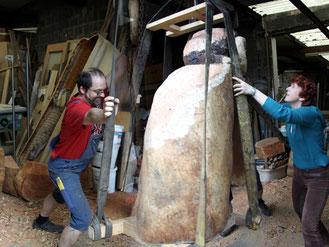 Gemeinsame Arbeit an 'Erck', dem König der Hollen (Zwergenvolk in den Ederbergen), 2010.