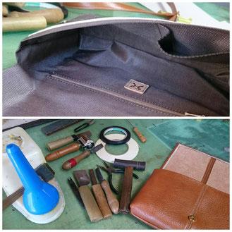 上 : 裏地   下 : 今回使用した道具