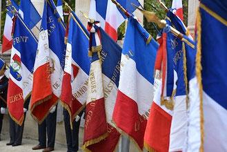 Les drapeaux, lors de la cérémonie du 11 Novembre à Montpellier