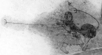 Bild eines friesichen Kriegers in der Kirche von Woldendorp, um 1350