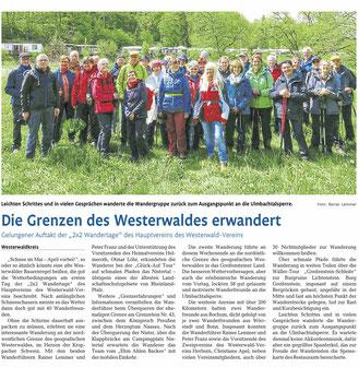 """""""2x2 Wandertage"""" des Hauptvereins des Westerwald-Vereins"""
