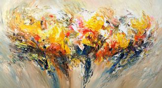 Sunny Nature XXL 1: ein strahlend gelbes Gemälde mit den Maßen 200 x 110 cm