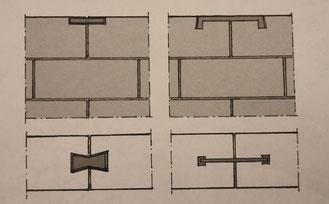 due tipi di grappe per muratura di pietra concia