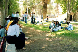 der Garten einer gemischten Mittelschule