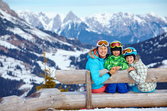 Family ski vacation in the Tyrolean Alps