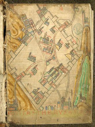 Carte de jérusalem - 12ème siècle.