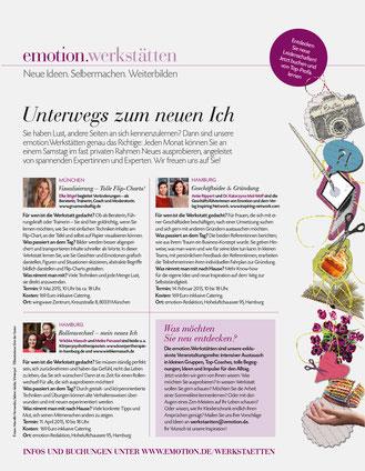 Ein Artikel des Frauenmagazins Emotions über Wiebke Masuchs Angebote.