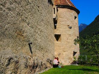 alte Mauer am Schloss Roche in Aigle