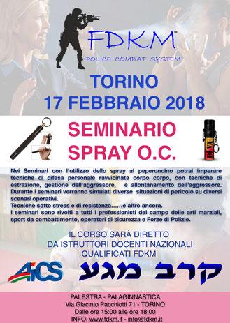 SEMINARIO SPRAY AL PEPERONCINO FDKM A TORINO