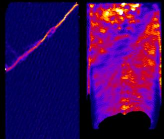 Observation 3D d'un échantillon déformé de roche poreuse saturé d'eau. La bande de cisaillement est visible à gauche par tomographe X. La vitesse de propagation du front d'eau est suivie par imagerie aux neutrons (à droite)