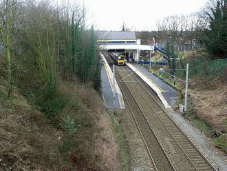 Lea Hall station - the train is coming from Birmingham