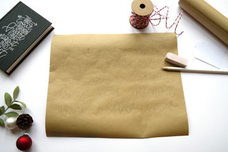 Lettering Anleitung: Wie du Geschenke hübsch verpacken kannst - Schritt 1: vorschreiben
