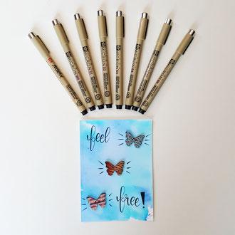 Preis 2 des Gewinnspiels der Letter Lovers - 8 Pigma Micron Stifte und dazu eine Karte