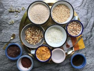 Rezept für ein Knsupermüsli selbermachen - die Zutaten (Letter Lovers mel_lettering)