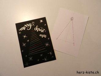 Anleitung Weihnachtskarten besticken