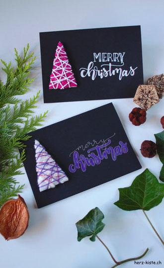 DIY Anleitung für eine Weihnachtskarte: Tannenbaum mit Garn umwickeln