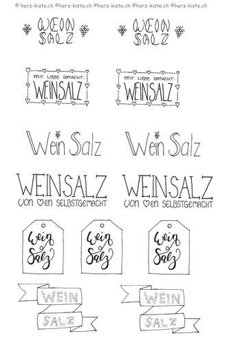 Weinsalz Etiketten zum ausdrucken - gratis Printable