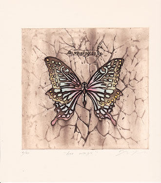 her wings 腐蝕銅板画(直径160mm)