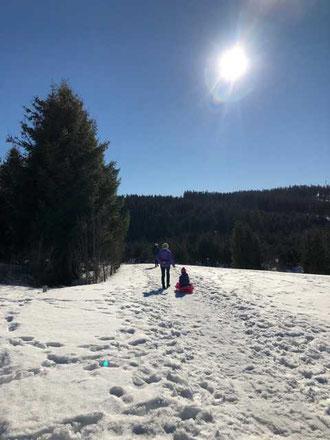 Familienausflug im Schnee