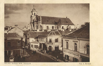 "Vilnius. Visų Šventųjų bažnyčia. Nuotr. J. Bulhako. Leid. akc. bndr. ""RUCH""/ Vilnius. All Saints Church. Photo J. Bulhak. Publisher ""RUCH"""