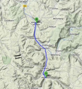 Amorbach-Klingenberg ca. 18km