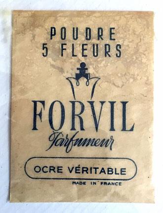 """FORVIL - SACHET ECHANTILLON DE POUDRE PARFUM """"5 FLEURS"""" - COLORIS OCRE VERITABLE"""