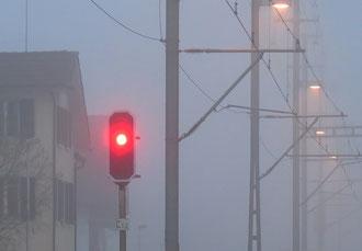 Nebel, Signal, Rot, Herbst
