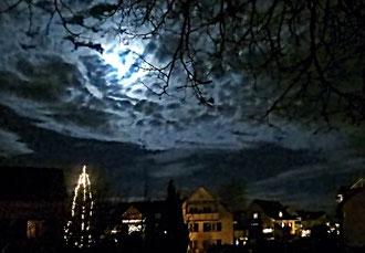 Weihnacht, Dorf, Mond