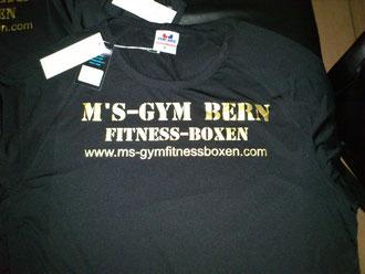 Die T-Shirts sind eingetroffen! M's-Gym Bern www.ms-gymfitnessboxen.com