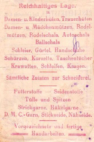 Rückseite des Kassenzettels Lagerwaren -   Archiv Martina Luther
