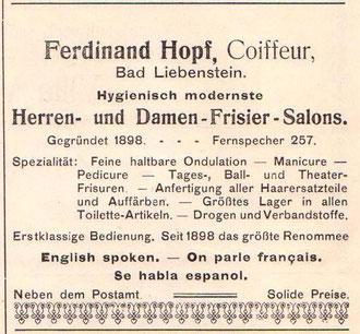 Anzeige Juli 1914, Sanitätskolonne und 1.Hilfsmeldestelle sind weitere Merkmale, die im Telfonbuch von 1912 vermerkt worden waren - Archiv W.Malek