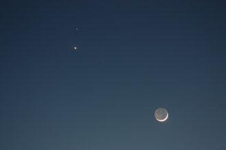 Sehr schön ist das aschgraue Mondlicht zu sehen