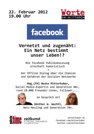galerie time facebook: Vernetzt und zugenäht: Ein Netz bestimmt unser Leben!? mit facebook Publikumslesung. Offline Dialog: Mag.(FH) Beate Mitterhuber und Günther W. Wachtl