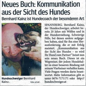 Bezirksblätter: neues buch &;kommunikation aus der sicht des hundes&;