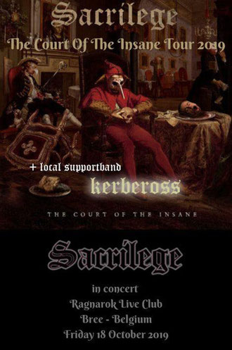 SACRILEGE - THE COURT OF THE INSANE TOUR 2019 Two dates in Belgium and Neterlands