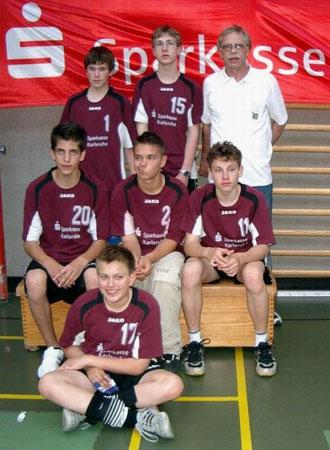 Die Deutschen Meister 2007 oben (v.l.n.r): Tobias Raber, Jan Lemke, Trainer Werner Hemberle. Mitte: Mike Flohr, Oliver Werner, Tim Nagel.Unten: Kapitän Danny Krimmel