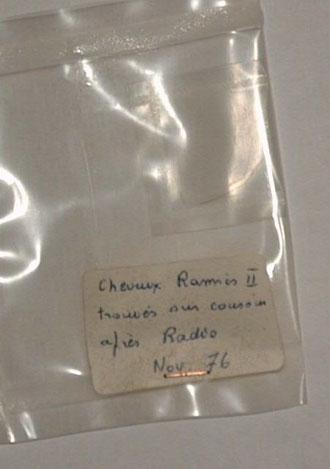 Pochette contenant quelques cheveux de Ramsès II