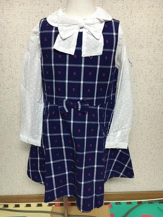 セラフ                    先染めチェック花JQジャンパースカート(S117046) (size 100㎝)              ¥3.900+税