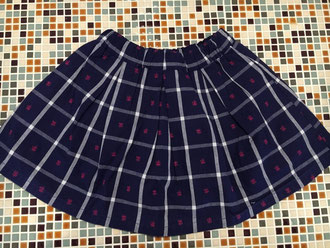 セラフ                    先染めチェック花JQスカート (S11802)    (size 110・120・130・140㎝)      ¥2.900+税