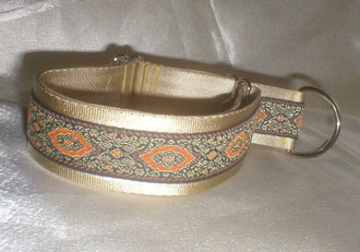 Zugstopp, Halsband, 4 cm, Gurtband champagnerfarben, edle Borte