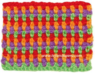 Punto moss o musgo en varios colores tejido a crochet