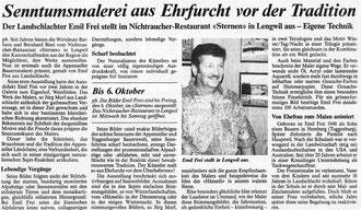 """Thurgauer Zeitung, 1995, """"Senntumsmalerei aus Ehrfurcht vor der Tradition"""""""