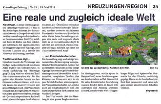 """Kreuzlinger Zeitung, 25.5.2012, """"Eine reale und zugleich ideale Welt"""""""